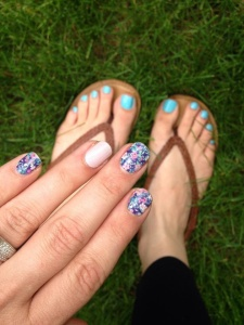 Morning Mist Lacquer pedi. Ditsy Floral and Daydream mani.