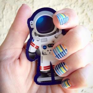 Lunar Landing, #lunarlandingjn, Word to the Wise, nail wrap, ,space, nail wraps, manicure, jamicure, nail polish alternative, e3, electronics conference, video game, gamer