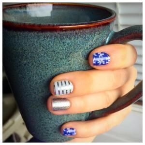 #UniversityofKentuckyJN, #DiamondDustSparkleJN, #MetallicGray&SilverStripe, #mani, mani, #nailwrap, nail wrap, #manicure, manicure, #jamicure, #BBN, bbn, #BigBlueNation, Big Blue Nation