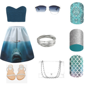 #CaribbeanSnakeskinJN, #UnderthestarsJN, and #MermaidTalesJN, #SharkWeek2015, #shark, #Beach, #Jaws, Jaws skirt, #ninjaofnails, #nailwraps